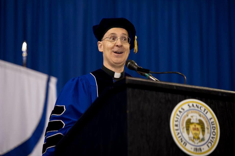 Fr. James Martin, SJ, receives an honorary degree and speaks to the graduating class of 2012 at St. Louis University's commencement exercises.