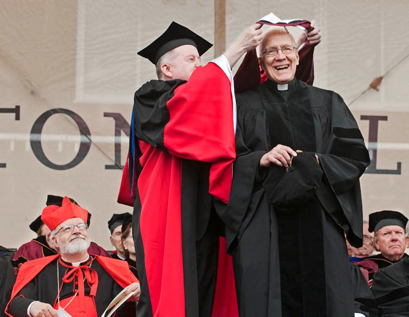 Fr. Joe Appleyard, SJ, receives an honorary doctorate from Boston College on May 21, 2012.